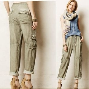 Anthropologie Rolled Faded Green Utility Cargo